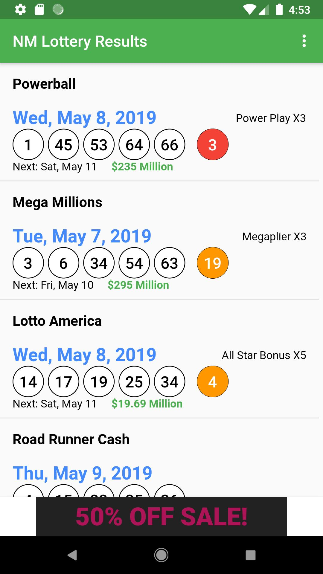 NM Lottery Results cho Android - Tải về APK