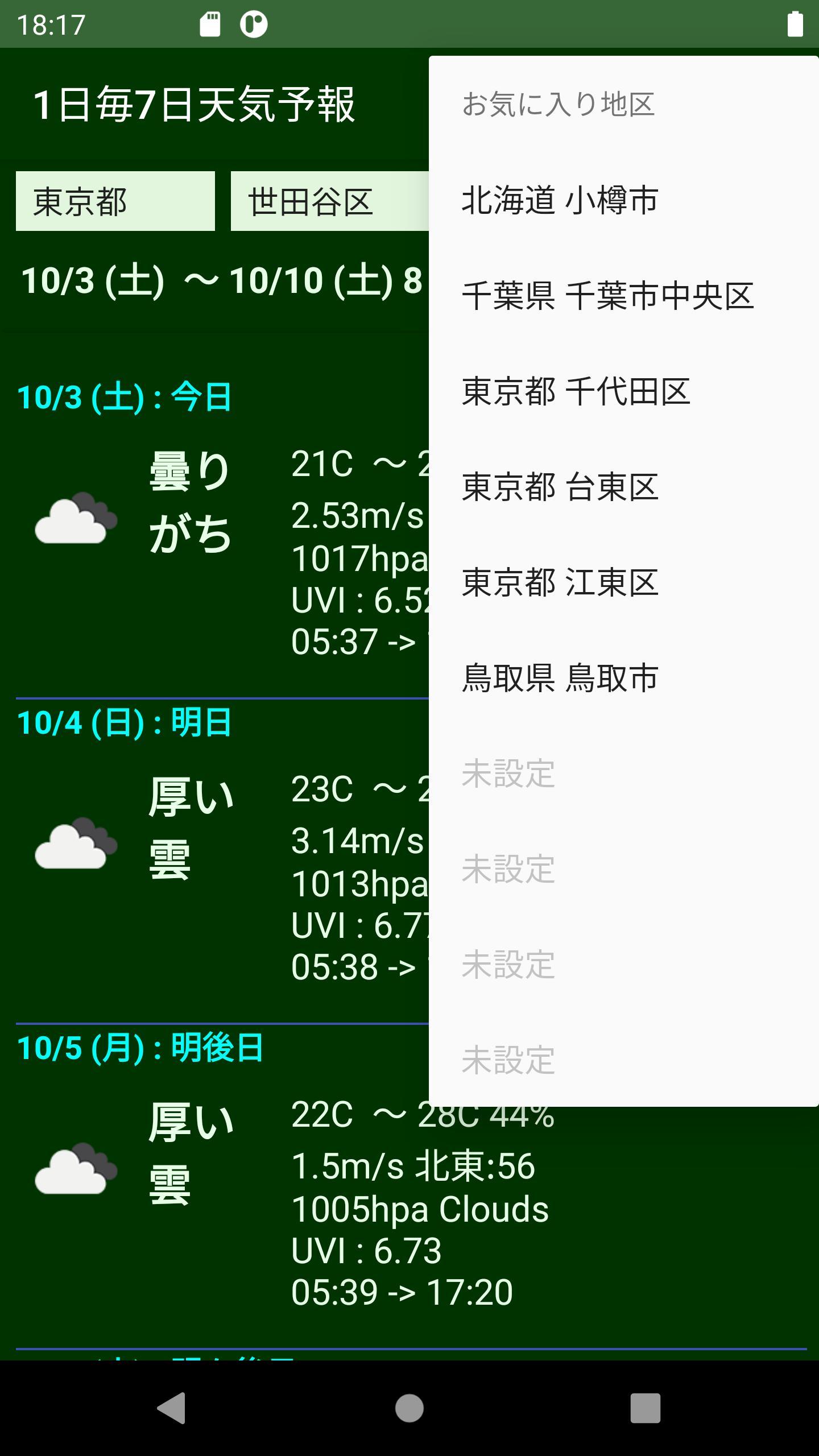 の 天気 世田谷 今日
