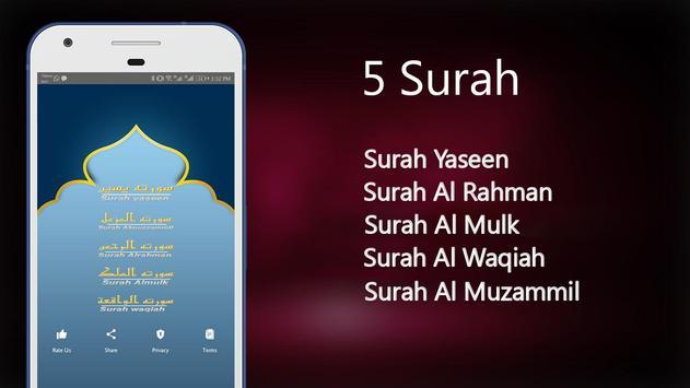 Quran 5 Surah Reading & Listening screenshot 5