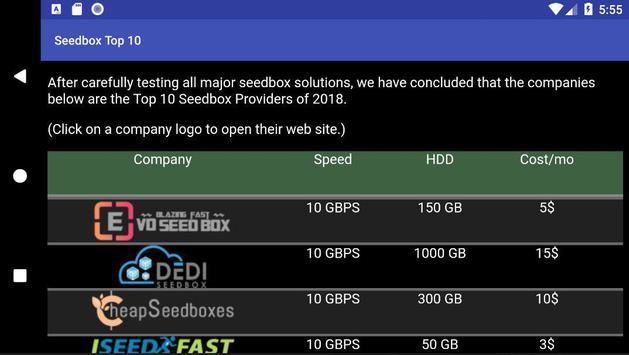 Seedbox Top 10 screenshot 1