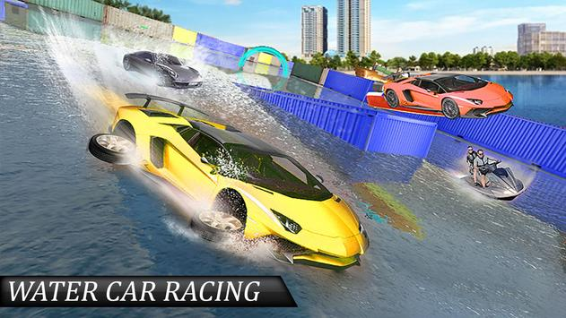 Water Surfing Floating Car Racing Game 2019 скриншот 2
