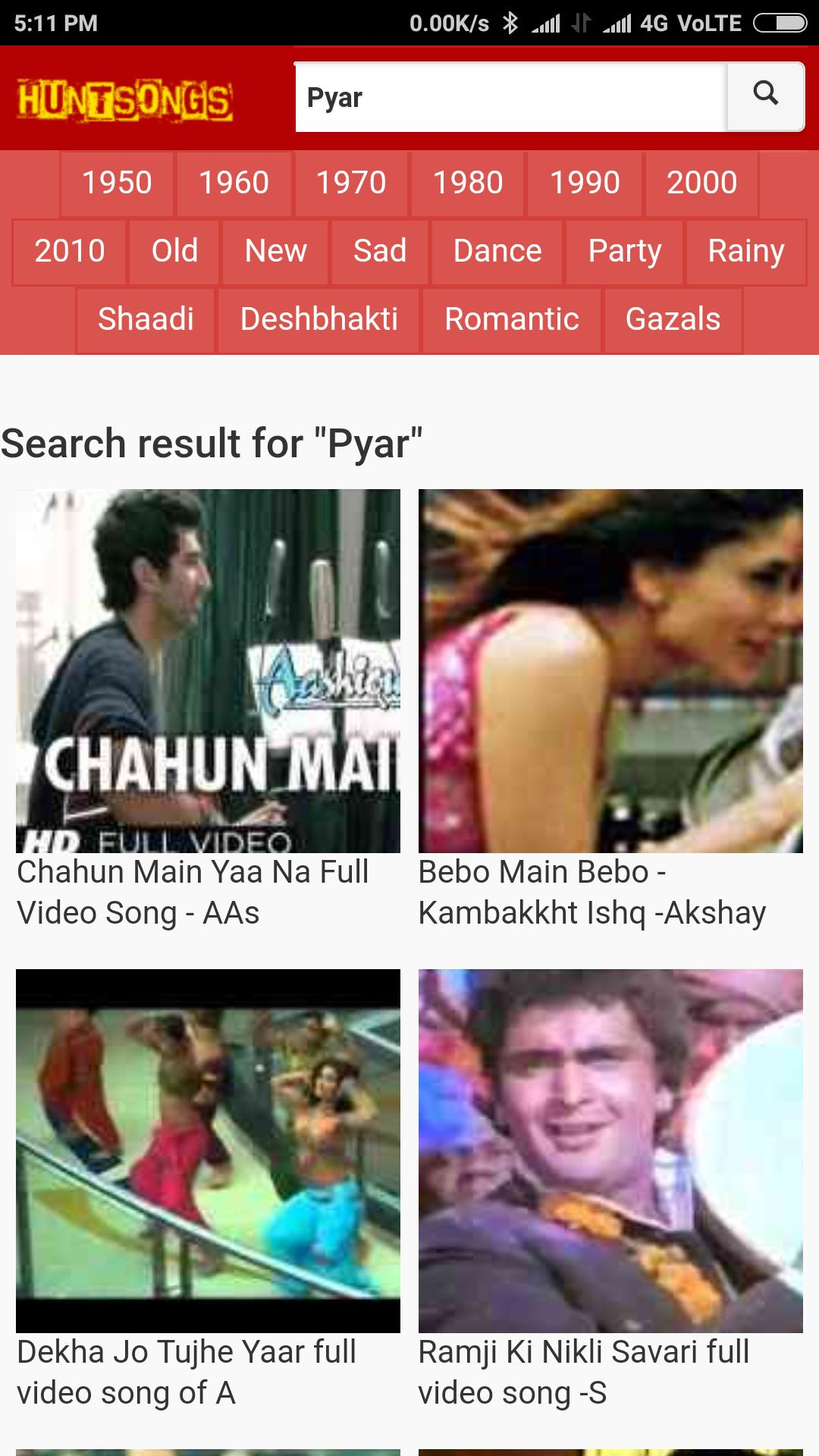 Bollywood video songs, old hindi songs with lyrics for Android - APK