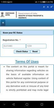 RTO Vehicle RC Status App 1.0 screenshot 2
