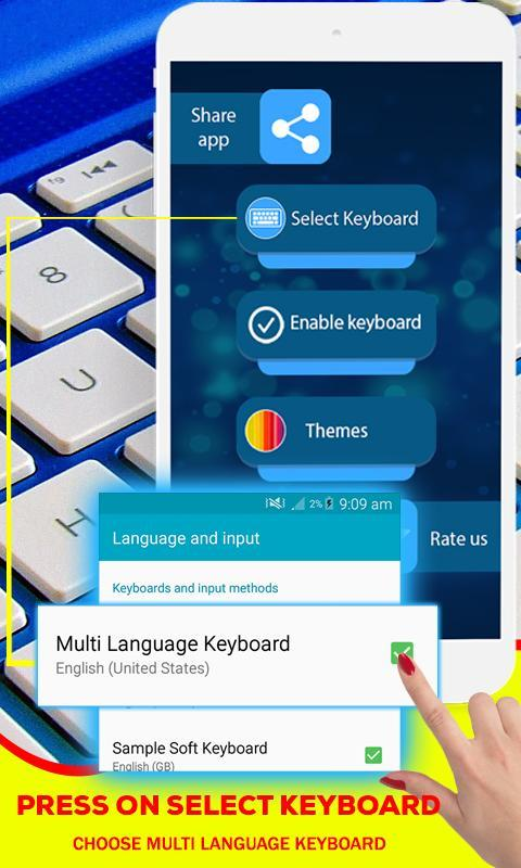Multi language keyboard: Dual languages typing for Android