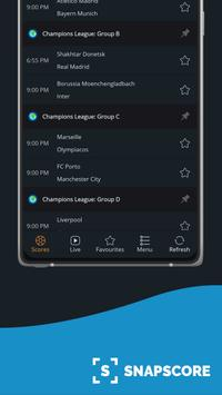 Ads free Live Scores for Football - SnapScore स्क्रीनशॉट 1