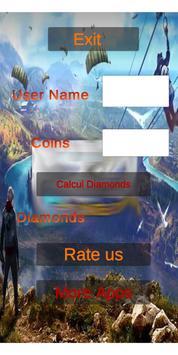 Diamonds free fire calculator poster