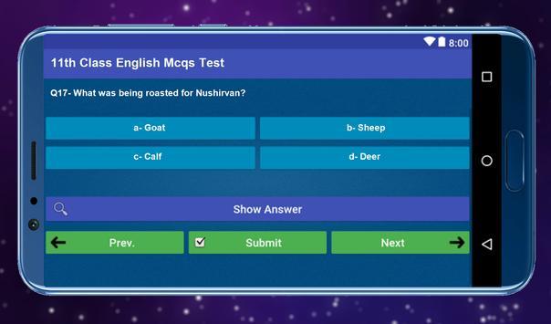 11th Class English Mcqs Test screenshot 5