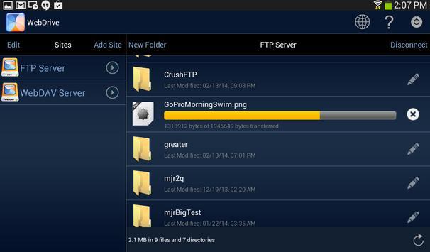 WebDrive, File Transfer Client screenshot 10