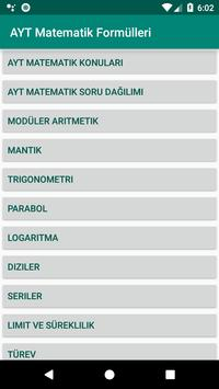 AYT matematik formülleri poster