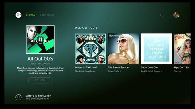 Android TV için Spotify Music gönderen