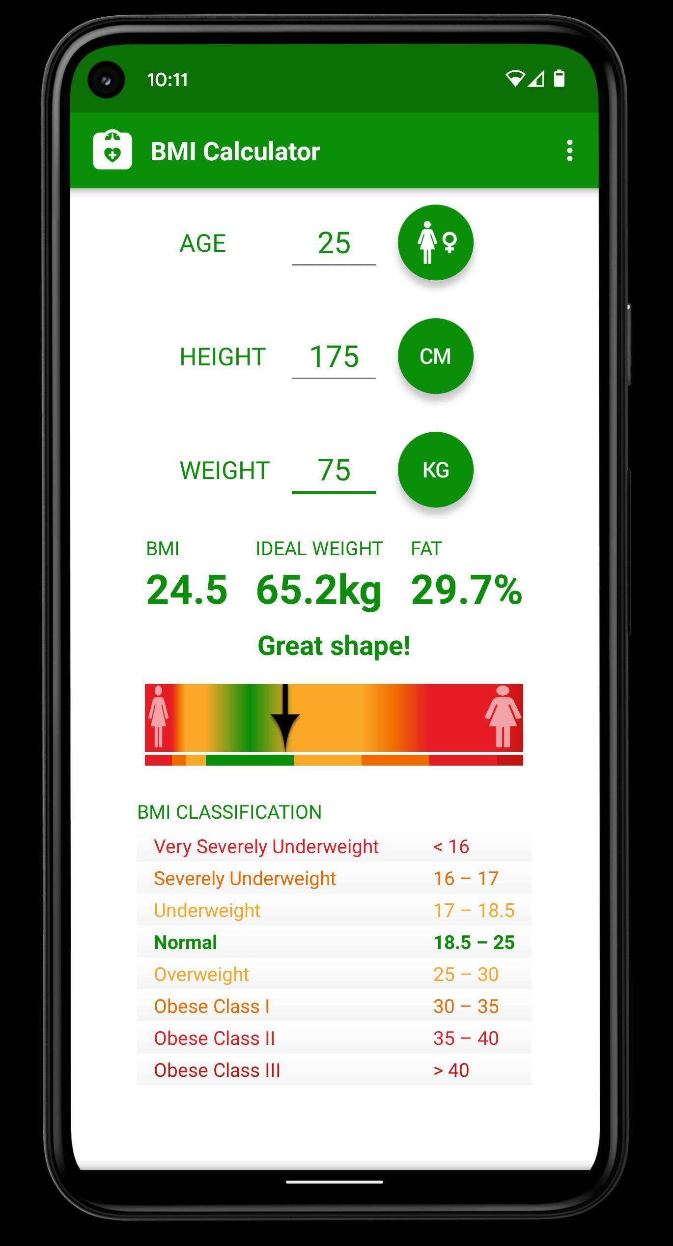 BMI Rechner für Android   APK herunterladen