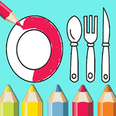 kitchen coloring book for kids icon