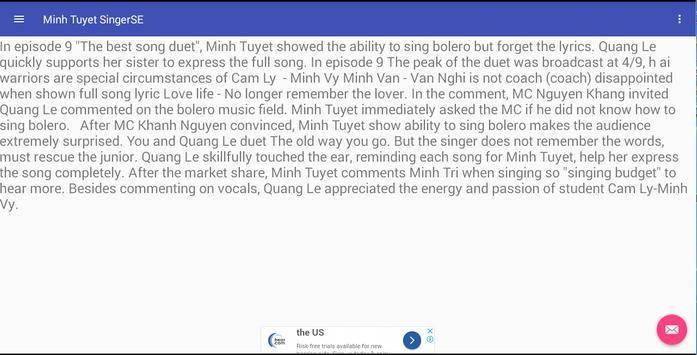 Minh Tuyet SingerSE screenshot 3