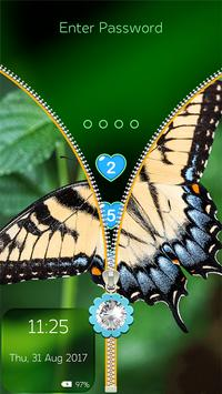 Butterfly Zip Lock Screen with Password poster