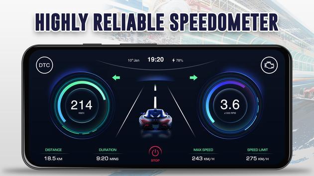 GPS Speedometer: Car Dashboard OBD2 Speed Limit screenshot 13