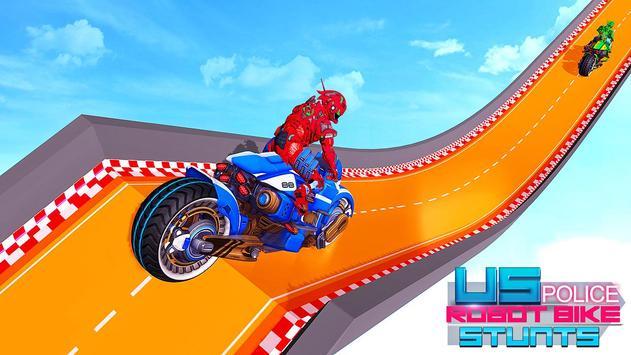 Police Robot Bike Stunt : Mega Ramp Bike Game 2021 poster