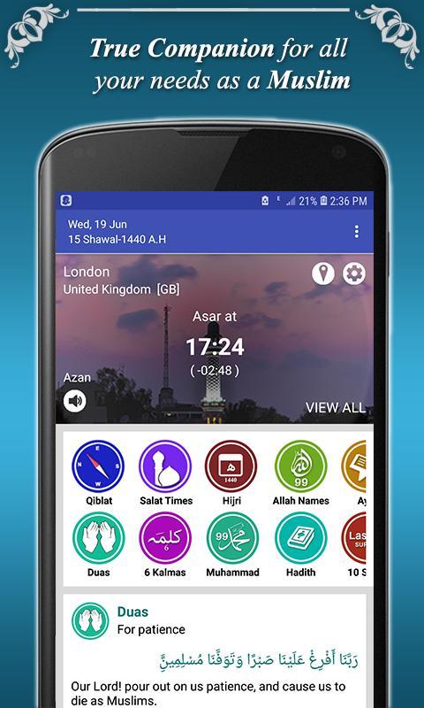 Qibla Direction Finder & Prayer Time Alarm Manager for