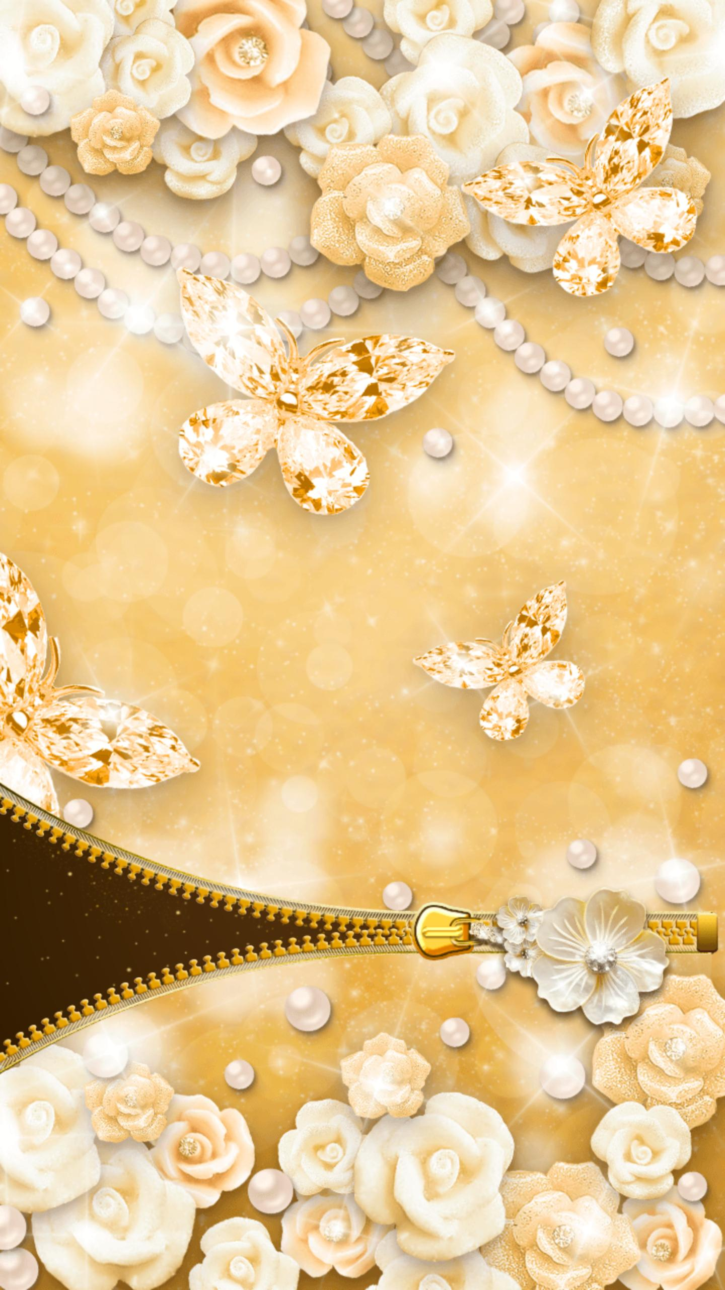 Gold Butterfly Diamond Zipper Lock For Android Apk Download