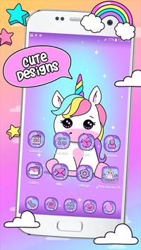 Pink Unicorn Theme Launcher poster