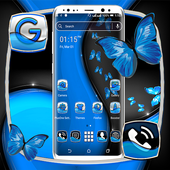 Black Blue Butterfly Launcher Theme icon