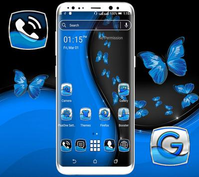 Black Blue Butterfly Launcher Theme poster