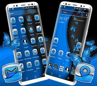 Black Blue Butterfly Launcher Theme screenshot 1