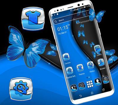 Black Blue Butterfly Launcher Theme screenshot 2