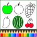 livro de colorir de frutas - livro de colorir
