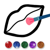 Glitter Toy Lips with Makeup Brush Set coloring icon