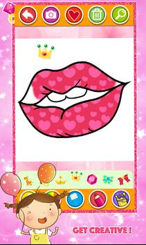 Glitter Toy Lips with Makeup Brush Set coloring screenshot 2