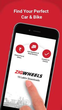 Zigwheels - New Cars & Bikes, Scooters in India. الملصق
