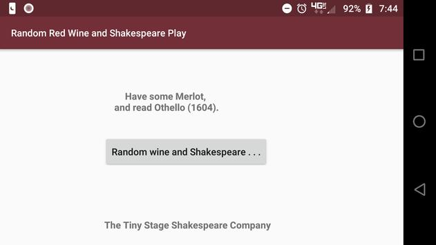 Red Wine and Shakespeare Play Randomizer poster