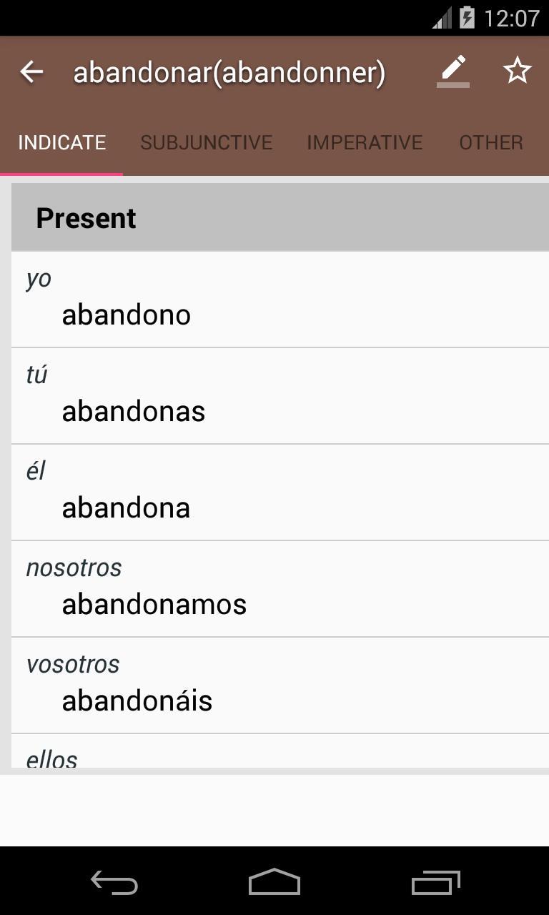 Conjugaison Du Verbe Espagnol Etudier L Espagnol Pour Android Telechargez L Apk