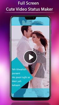 FullScreen Cute Video Status Maker - 30 SecLyrical screenshot 2