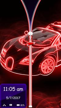 Neon Cars Lock Screen Zipper screenshot 4