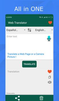 Translator for text, web pages & photos. 100% free poster