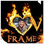 fire text  name art photo frame editor icon