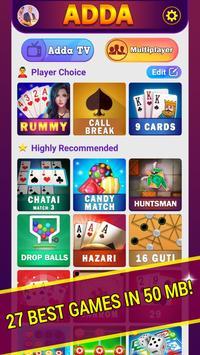 Adda : Rummy , Callbreak ,Solitaire & 29 Card Game poster