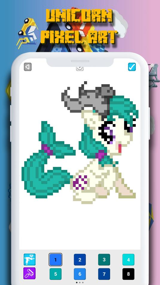 Pixel Art Unicorn Coloring By Number Pour Android