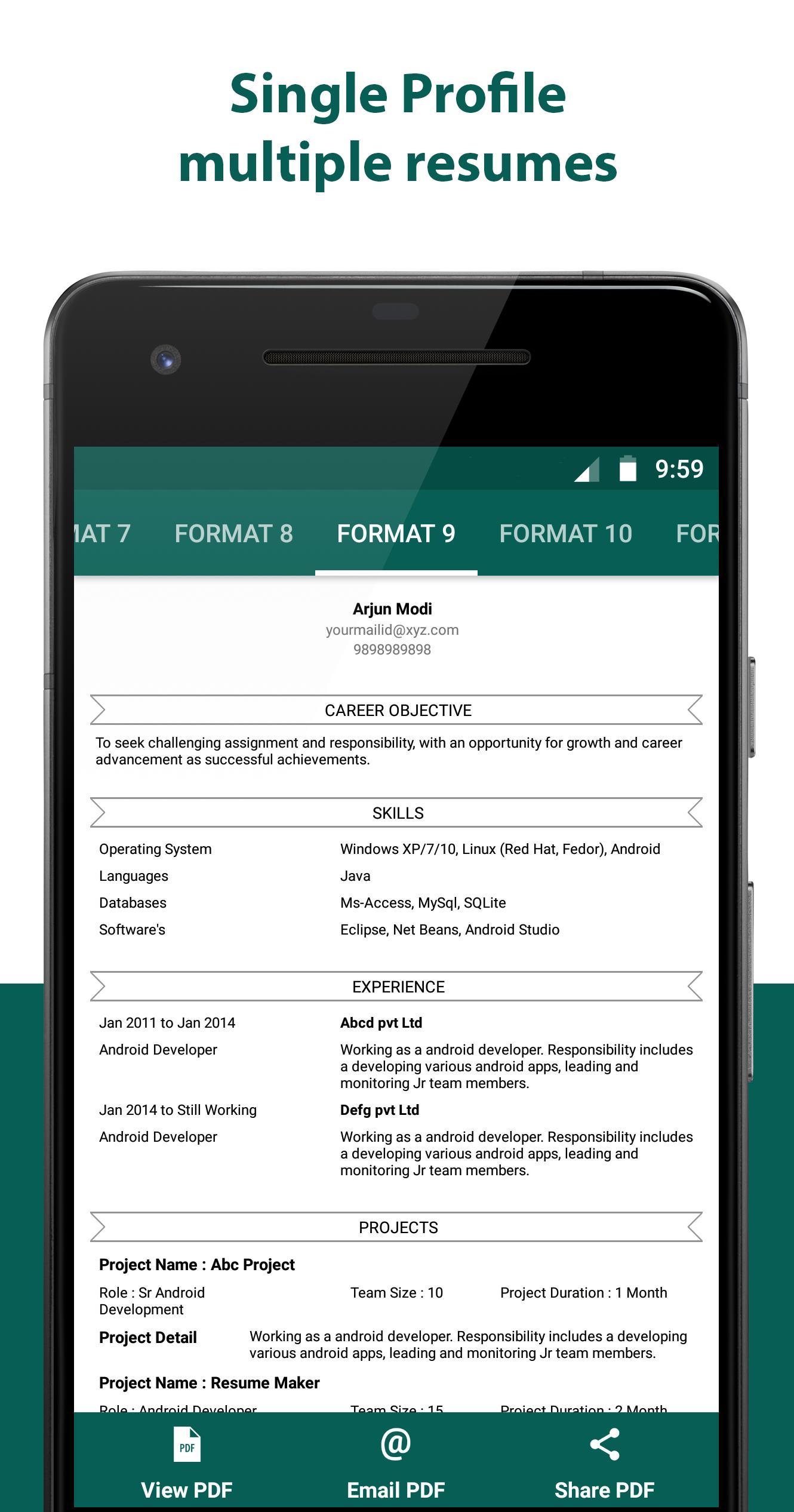 Resume Builder Resume Creator Free Cv Maker For Android Apk