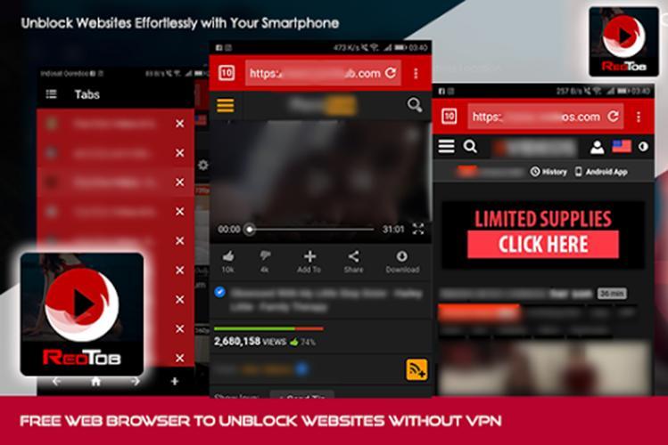 RedTob Browser v2.0 MOD APK – Free Unblock Websites Without VPN 1