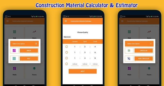 Construction Material Estimator screenshot 1