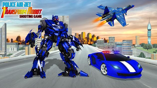 Police Air Jet Robot Car Transform Shooting Game poster