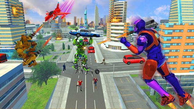 Police Air Jet Robot Car Transform Shooting Game screenshot 9