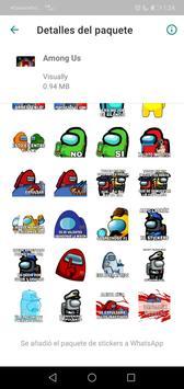 Sticker de personajes Among Us para WhatsApp captura de pantalla 6