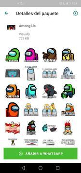 Sticker de personajes Among Us para WhatsApp captura de pantalla 2