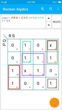 Boolean Algebra | Kmap solver | function minimizer screenshot 1