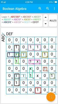 Boolean Algebra | Kmap solver | function minimizer screenshot 2