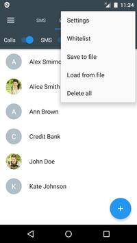 Bloqueador de llamadas y SMS - Calls Blacklist captura de pantalla 2