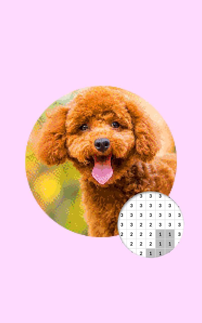 Photographie De Chien Couleur Par Nombre Pixel Art Pour
